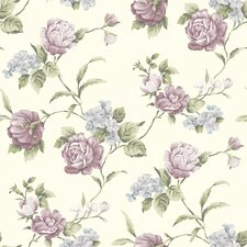 "Cottage Garden 33' x 20.5"" Gleason Rose Floral Embossed Wallpaper"