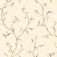 """Pure Country 33' x 20.5"""" Felicia Star Berry Vine Floral Embossed Wallpaper"""