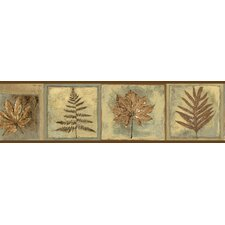 "Borders by Chesapeake Fringe Fern Leaf Portrait 15' x 6"" Botanical Embossed Border Wallpaper"