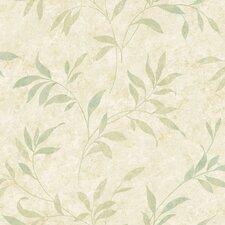 """Sand Dollar 33' x 20.5""""  Sanibel Leaf Trail Floral and Botanical Embossed Wallpaper"""