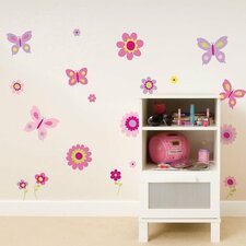 Euro Flowers and Butterflies Wall Decal