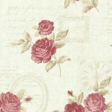 "Bath Bath Bath Volume IV Venetia Vintage Rose Toss 33' x 20.5"" Wallpaper"