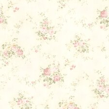 "For Your Bath II 33' x 20.5"" Carolina Rose Bouquet Wallpaper"