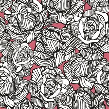 "Zinc 33' x 20.5"" Calista Modern Rose Floral Embossed Wallpaper"