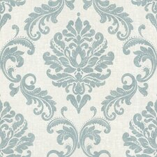 "Zinc 33' x 20.5"" Sebastion Damask Embossed Wallpaper"