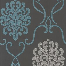 "Accents Suzette Modern 33' x 20.5"" Damask Embossed Wallpaper"