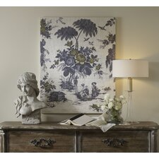 French Linen Toile Graphic Art on Canvas in Gray and Yellow