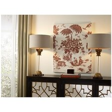 French Linen Toile Graphic Art on Canvas in Red