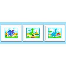 3 Piece Dinosaur Land Personalized Framed Art Set