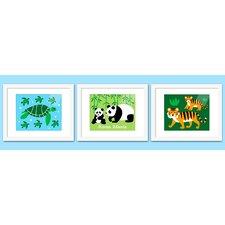 3 Piece Endangered Animals Personalized Framed Art Set