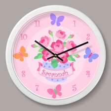 "Blossoms and Butterflies Personalized 12"" Wall Clock"