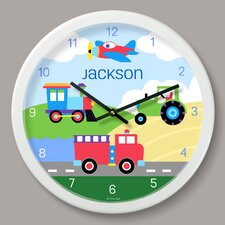 "Trains, Planes and Trucks Personalized 12"" Wall Clock"