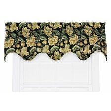 "Valerie Jacobean Floral Lined Scallop 70"" Curtain Valance"