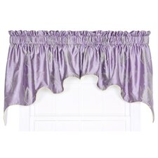 "Astonish 2 Piece Embroidered Leaf Lined Duchess 100"" Curtain Valance Set"