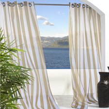 Outdoor Décor Escape Outdoor Stripe Grommet Top Single Curtain Panel