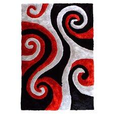 3D Shaggy Abstract Swirl Black Area Rug
