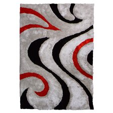 3D Shaggy Abstract Wavy Swirl Grey Area Rug