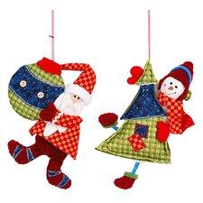 2 Piece Santa and Snowman Hang Set