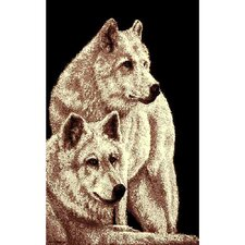 African Adventure 2 Wolves Area Rug
