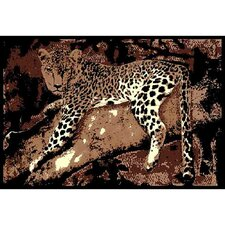 African Adventure Leopard on Tree 3 Area Rug