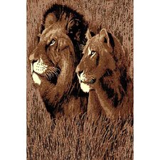 African Adventure Lion Head Area Rug