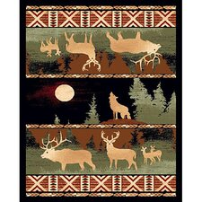 Lodge Design Wolf and Deer Novelty Rug
