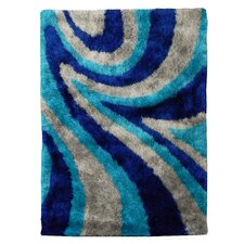 Flash Shaggy Blue Abstract Wave Area Rug