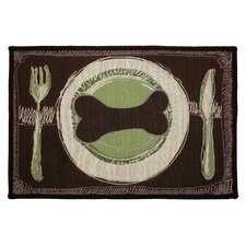 PB Paws & Co. Leaf / Pesto Dog's Dinner Tapestry Indoor/Outdoor Area Rug