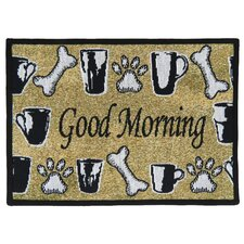 PB Paws & Co. Sand / Black Good Morning Tapestry Indoor/Outdoor Area Rug