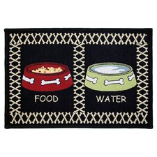 PB Paws & Co. Black Meal Time Tapestry Indoor/Outdoor Area Rug