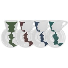 4 Piece Face/Vase Espresso Set (Set of 4)