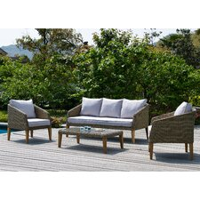 Sea Ranch 4 Piece Deep Seating Group with Natural Cushions