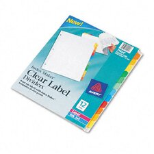 Index Maker Clear Label Punched White Dividers with Color Tabs in Multi