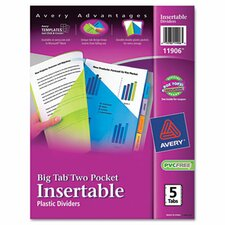 Worksaver Big Tab Multicolor Plastic Dividers with Double Slash Pockets (Set of 2)