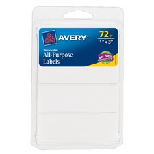 "1"" x 3"" Rectangular Removable Label 72 Count (Set of 6)"