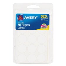 "0.75"" Round Removable Label 525 Count (Set of 6)"