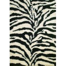 Shaggy Zebra Black & White Area Rug