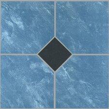 "12"" x 12"" Luxury Vinyl Tile in Blue Marble / Black Diamond"