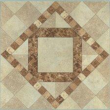 "12"" x 12"" Luxury Vinyl Tile in Beige / Brown Diamond"