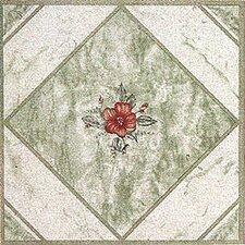 """12"""" x 12"""" Luxury Vinyl Tile in Light Green/ Red Flower"""