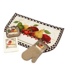 Medley Antique Fruit Bowl 4 Piece Kitchen Mat Set
