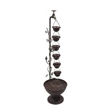 Iron 6 Hanging Cup Tier Layered Floor Fountain