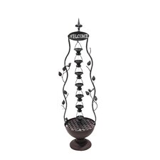 Iron 7 Hanging Cup Tier Layered Floor Fountain