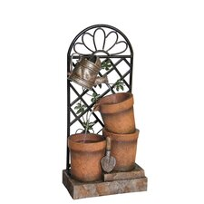 3 Flower Pots and Garden Tools Fountain