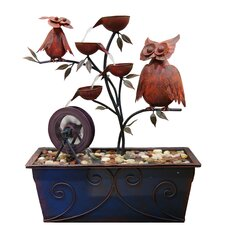 Metal Owls 4 Tier Fountain