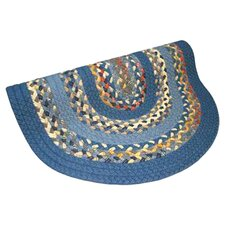 Minuteman Rust Light Blue Multi with Dark Blue Solids Multi Round Rug