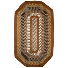 Green Mountain Maple Syrup Multi Elongated Octagon Brown Area Rug