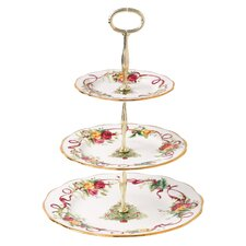 Old Country Roses Christmas Tree 3-Tier Cake Stand