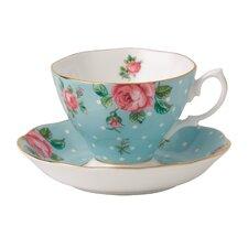 Polka Blue Formal Vintage Teacup and Saucer (Set of 2)