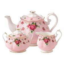 New Country Roses 3 Piece Teapot Set